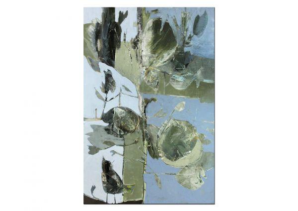 """Gemälde """"Die Amsel singt im Apfelbaum am Gartenteich ihr Lied"""""""