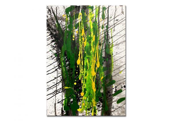 "Darstellende abstrakte Malerei, Acryl auf Leinwand, Irene Ganske: ""Grün/Gelb"""