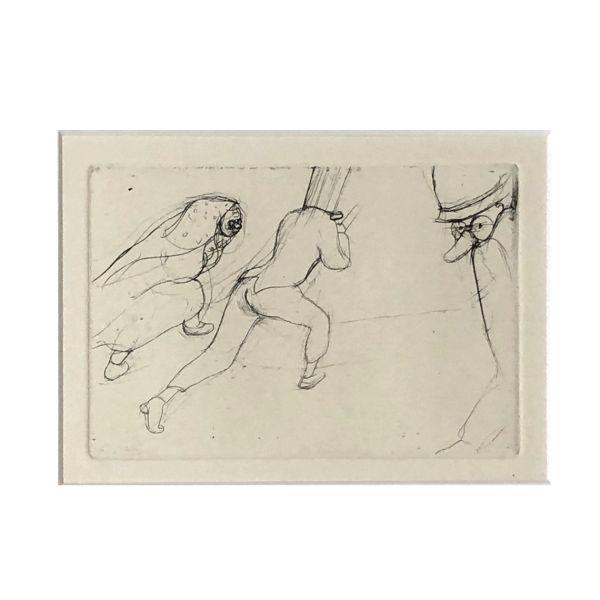 Hans Theo Richter Grafik Zwei laufende Maskierte und eine Maske rechts