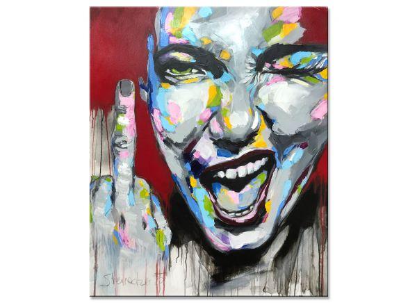 Fuck Corona Gemälde Portrait Kunst Unikat