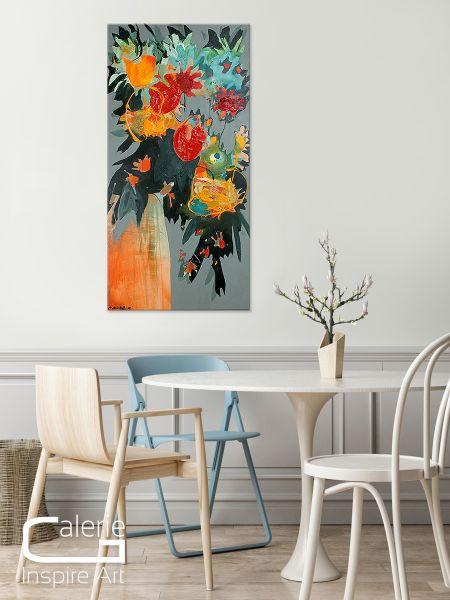 "Kunstmalerei, Acrylbilder abstrakt, C.Niehoff ""Feldblumenstrauss bunt"""