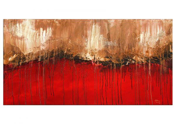 """Fernweh"" brilliantes rotes Gemälde, abstrakte Kunst modern"