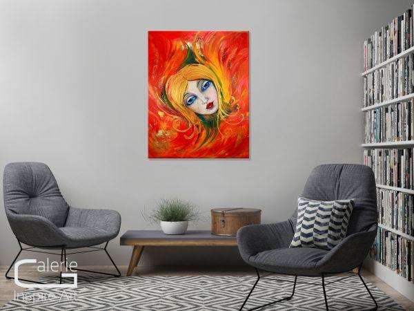 """""""Die Brennende"""" - zeitgenössisches Acrylgemälde - moderne Kunst"""