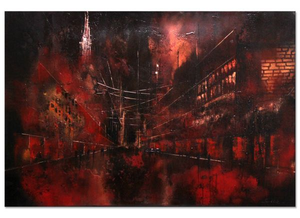 Metropole bei Nacht City Stadt gemalt Bild