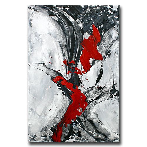 Serie: ABSTRAKTION No.3 [grau/schwarz/rot] abstrakte Kunst Wandbilder
