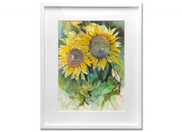 sonnenblumen aquarell gemälde almut Basta malerei