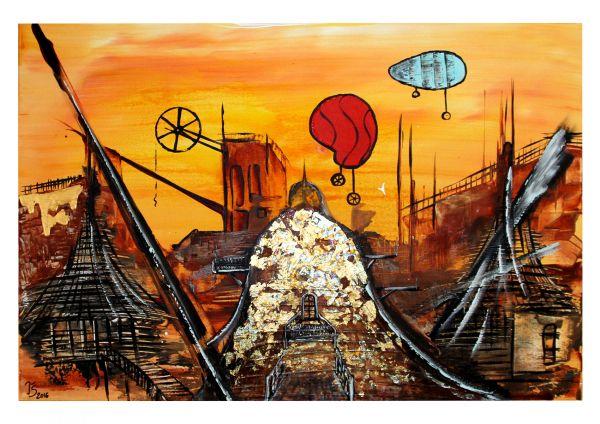 """Zeitgenössische Kunst online kaufen, modern art, Th.Stephan: """"Traumstadt"""""""