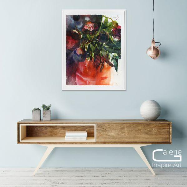 """Elke Memmler: Aquarell Kunst auf Büttenpapier """"Pfingstrosen Vase rot"""""""