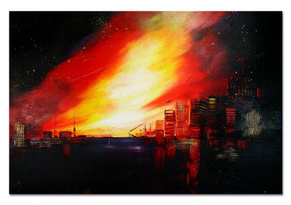 """Metropole """"Am Abend"""" abstraktes Gemälde in Acryl, zeitgenössische Kunst"""