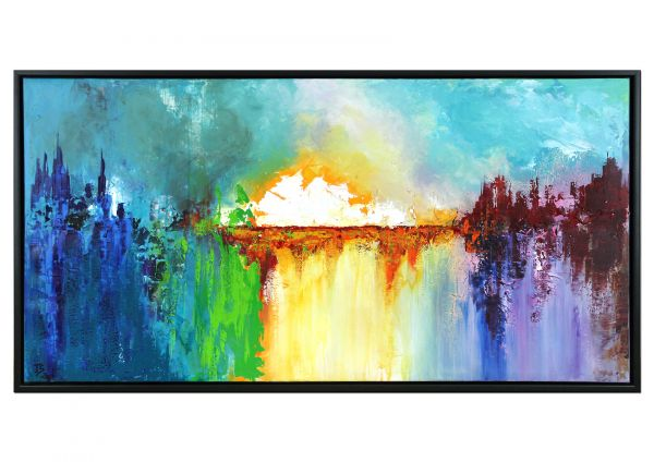 """""""Pearly White"""" mehrschichtiges Gemälde mit Rahmen - reduzierte Landschaft"""
