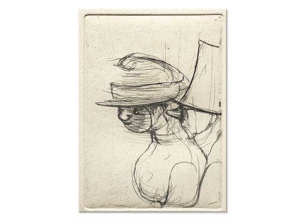 """Radierung """"Maske mit steifem Hut und Gesichtsmaske"""""""
