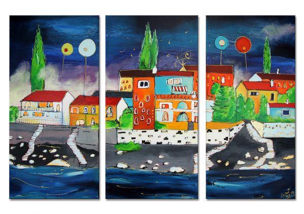 """Losaij: """"Rabac by Night"""" gegenständliche Kunst, Malerei, Triptychon"""
