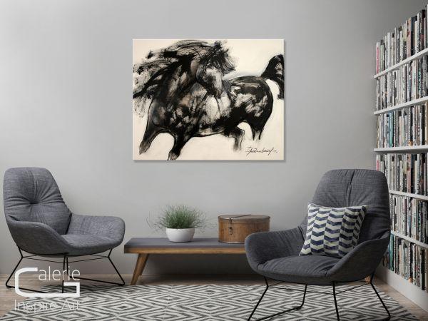 """Abstrakte Kunst, Elena Drobychevskaja: """"Pferd (schwarz)"""""""