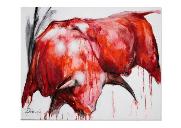 "Stierbild abstrakt, moderne Malerei, Elena Drobychevskaja: ""Stier III"""