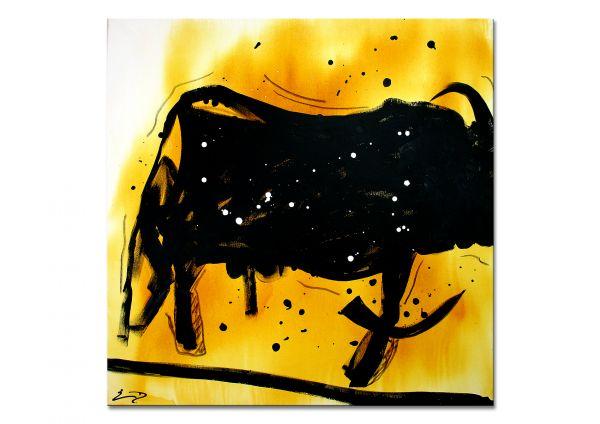 """Modernes Gemälde, Neoexpressionismus: """"Black Bull"""", Stier abstrakt"""