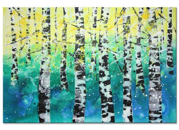 Birken Landschaftsmalerei Bäume Kunst