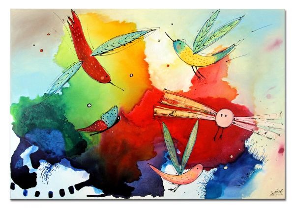 "Losaij: ""Birds of paradise VI"" Gemälde modern"
