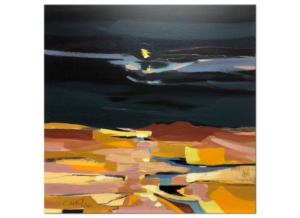 Original Gemälde Nachts über den Feldern Niehoff
