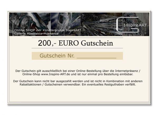 Kunst Galerie Kunstgutschein 200,00 Euro