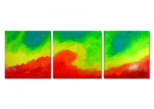 """Glück"" - modernes farbintensives Triptychon - moderne Kunst"