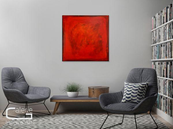 """Abstrakte Acrylbilder Malerei, Th.Stephan: """"Leidenschaft"""" in Rot"""