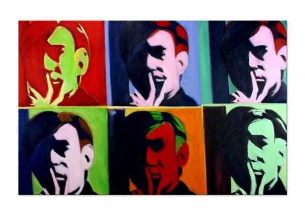 "Pop Art Gemälde in Öl ""Affaire d' Homme"" handgemalt - moderne Kunst"