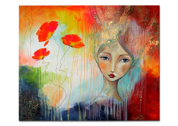 """Filigranes figürliches Gemälde, Lydia Schade-Fox: """"Lachende Blüten"""""""