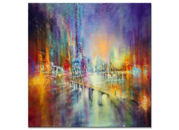 """""""Lichter in der Stadt"""" Kunst Metropole, Ölgemälde von A.Schmucker"""