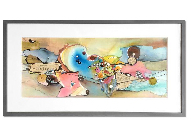 Rosa Blauer Fuchs Aquarell Bild Gemälde