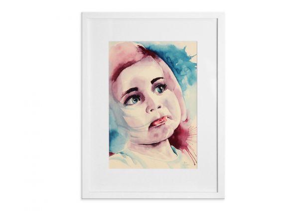 """Wunderschönes Portrait """"Zweifelhaft"""" Aquarellmalerei - Mädchenportrait"""