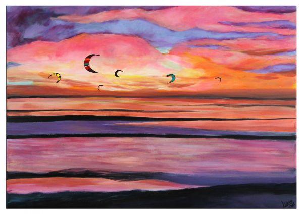"""Landschaft """"Surfing Waves"""" stimmungsvolles Acrylgemälde"""