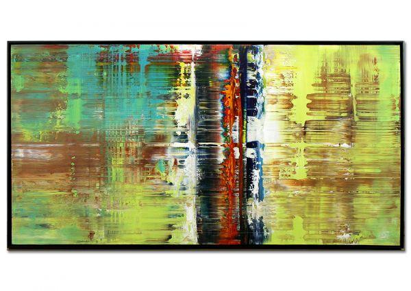 """Gemälde abstrakt zeitgenössisch gerahmt """"Zeitreise"""""""
