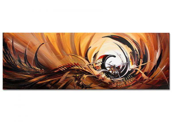 """Modernes Gemälde von DIEU: """"INVISIBLE"""" - Panoramaformat 150x50cm"""