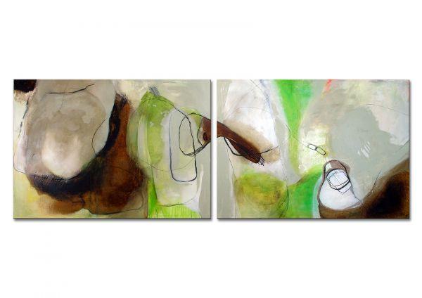 """Acrylmalerei abstrakt, M.Pilz """"Traumreise"""" Diptychon"""