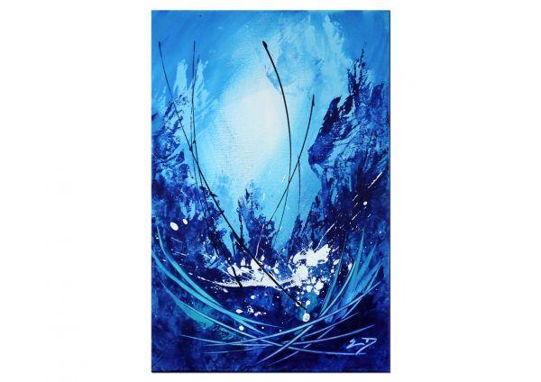 """""""Quantico"""" blaues Gemälde im Kleinformat [2019]"""