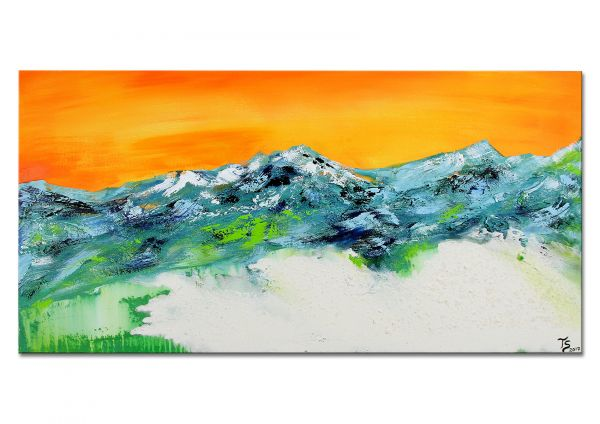 """Ausstellungsgemälde aus Galerie: """"Bergabend am Gletscher"""""""