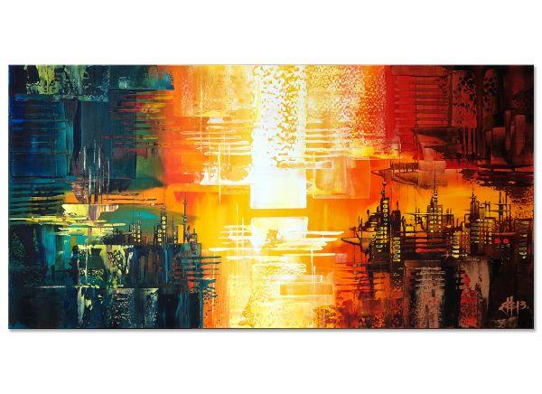 abstrakte Bilder in orange gelb kaufen
