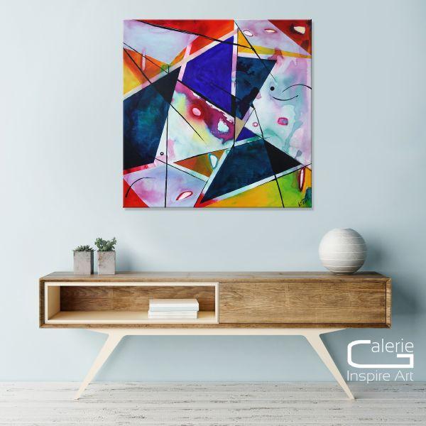 """Zauberwerk"" Kubismus, Original Galerie Gemälde in Acryl"