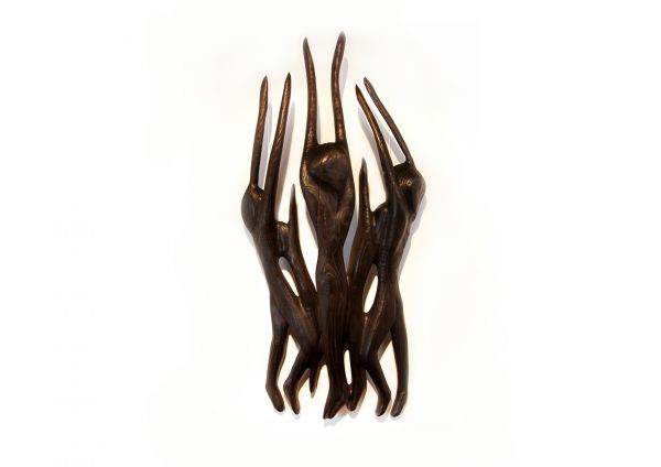 """Moderne Skulptur, Wandobjekt Eschenholz, René Theurich """"Der Gral"""""""