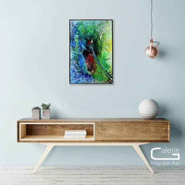 "Frische abstrakte Malerei, Leinwand mit Rahmen, Dieu: ""Heartbeat"""