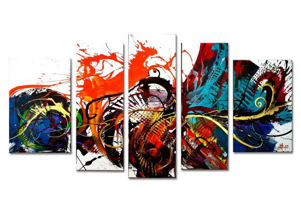 "Modernes 4 teiliges Wandbild in Acryl, Dieu: ""Walk this Way"" Unikatgemälde"