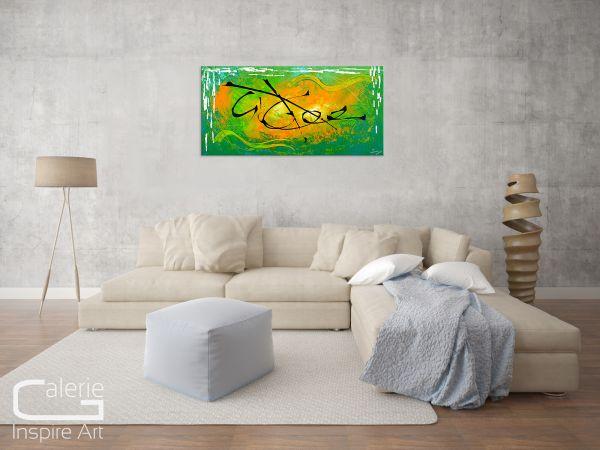 """Abstraktes grünes Wandbild - zeitgenössische bildende Kunst - """"Premiss"""""""