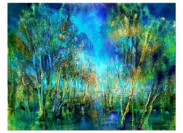 Im Tal die Nachtigal Ölbilder malerei Landschaft