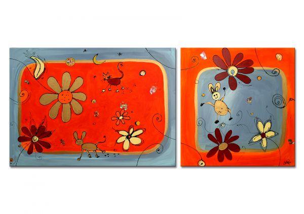 """Diptychon, """"Little Stars II"""" - Bild auf Leinwand - Malerei abstrakt"""